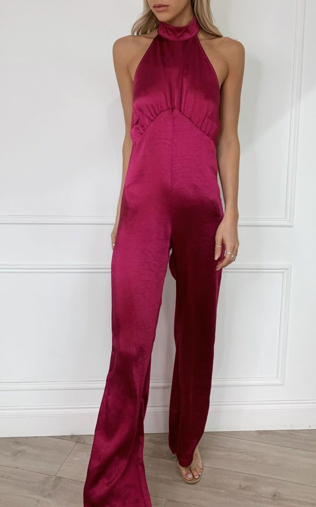 Raleigh Halterneck Jumpsuit - Magenta by Pretty Lavish