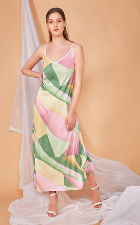 Rhaea Satin Slip Maxi Dress In Patisserie Print by COCOOVE Product photo
