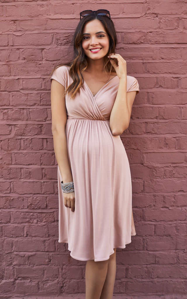 Francesca Maternity Bridesmaid Dress in Pink by Tiffany Rose Maternity