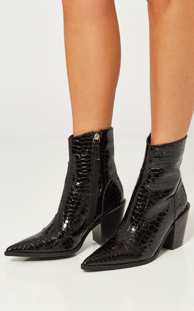 Black Croc Western Block Heel Boots by Truffle Collection Product photo