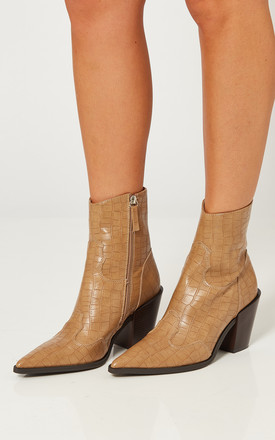 Beige Croc Western Block Heel Boots by Truffle Collection Product photo