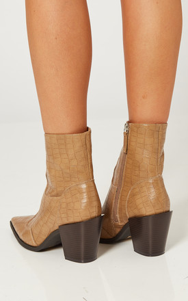 Beige Croc Western Block Heel Boots by Truffle Collection