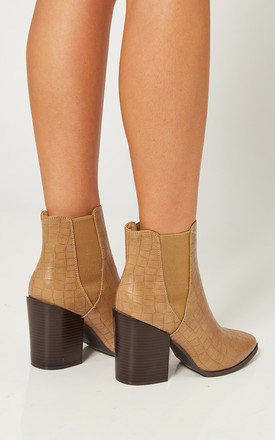 Beige Croc Heeled Boots by Truffle Collection