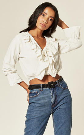 Frilled V Neck Ruffle Crop Top In White by Twist and Turn Product photo