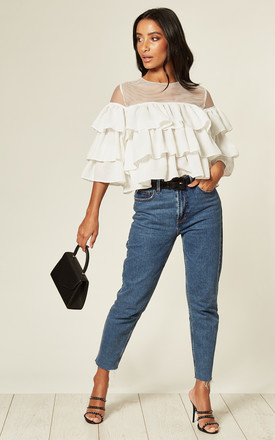 Ruffle Tiered Mesh Crop Top In White by Twist and Turn Product photo