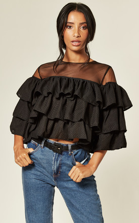 Ruffle Tiered Mesh Crop Top in Black by Twist and Turn