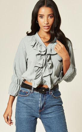Frilled V Neck Ruffle Crop Top In Mint by Twist and Turn Product photo