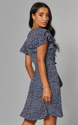 MARTINA Frill Sleeve Wrap Front Dress in Navy Print by Blue Vanilla