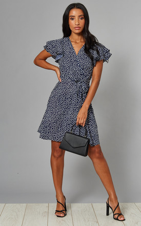Martina Frill Sleeve Wrap Front Dress In Navy Print by Blue Vanilla Product photo