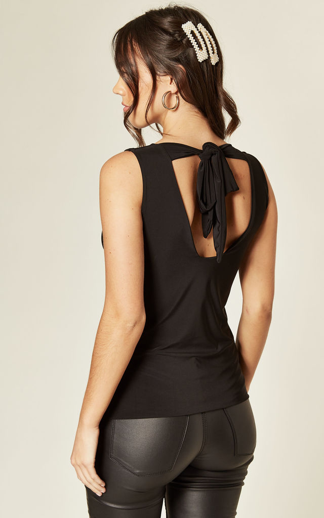 Willow Tie Back Top in Black by Pleat Boutique