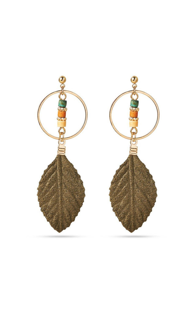 Green Leaf Drop Earrings with Beads by With Bling