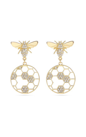 Gold Swarovski Bee Hive Drop Earrings by With Bling