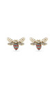 Multicoloured Swarovski and Pearl Bee Stud Earrings by With Bling