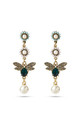 Green Swarovski Bee Statement Drop Earrings by With Bling