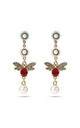 Red Swarovski Bee Statement Drop Earrings by With Bling