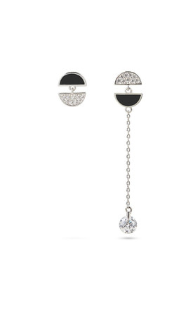 Black Mismatched Silver Drop Earrings by With Bling