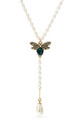 Green Swarovski and Pearl Bee Necklace by With Bling
