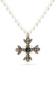 Swarovski and Pearl Statement Cross Necklace by With Bling