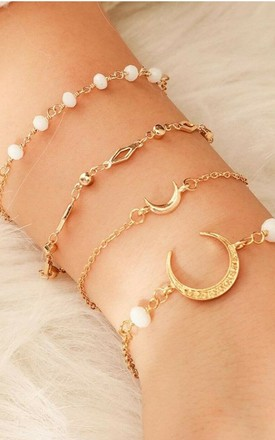 Pack Of 4 | Moon Crystal Gold Bead Bracelet Set by GIGILAND Product photo