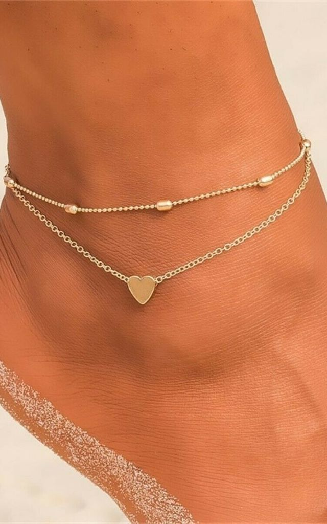 Layered Double Heart Anklet in Gold by GIGILAND
