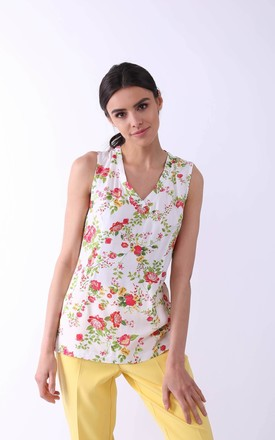 Sleeveless Slim Fit Top with V-Neck in White Floral Print by By Ooh La La