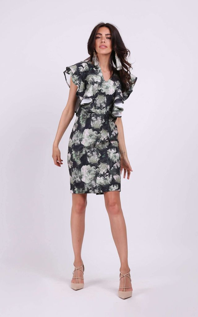 Wedding Guest Dress with Frill in Green Floral Print by By Ooh La La
