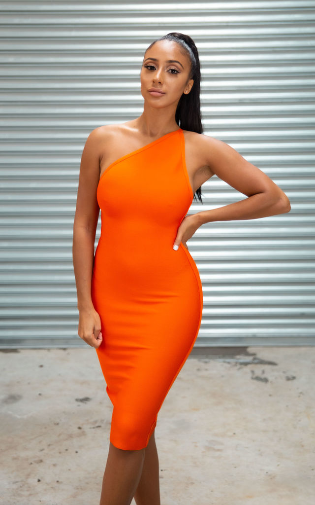 My Evelina Midi Bandage Dress in Orange by My Little Wardrobe