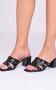 Block Mule Heeled Sandals in Black Faux Leather Croc Print by LILY LULU FASHION