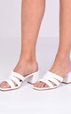 Block Mule Heeled Sandals in White Faux Leather Croc Print by LILY LULU FASHION