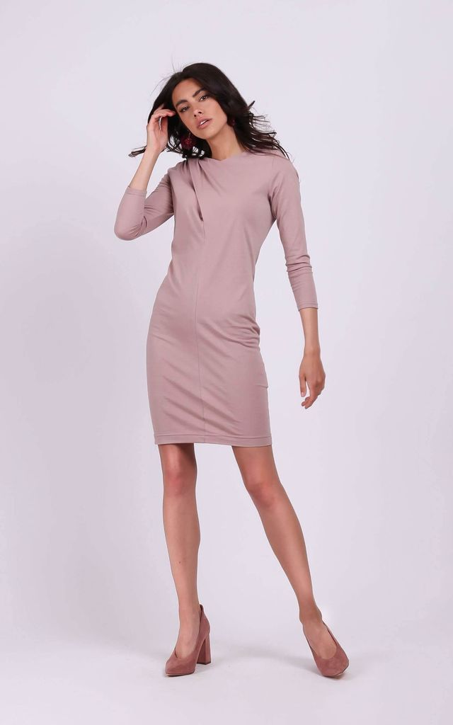 Fitted Mini Dress with Long Sleeve in Cappuccino by By Ooh La La
