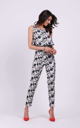 Sleeveless Jumpsuit with Layers in Grey Floral Print by By Ooh La La