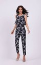 Sleeveless Jumpsuit with Layers in Navy Blue Pattern by By Ooh La La