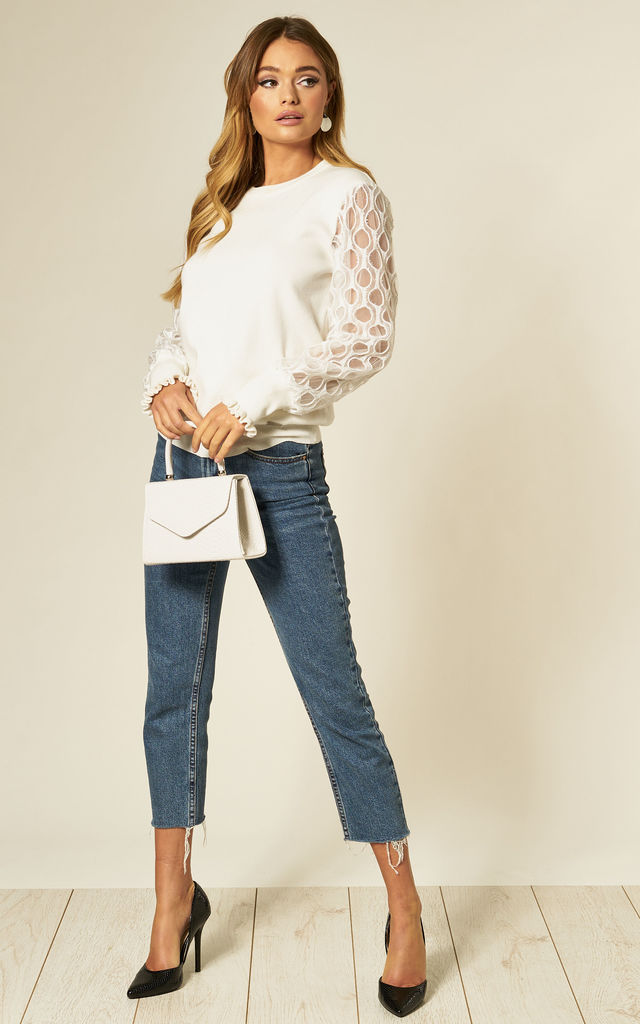 Zinab White Jumper with Honeycomb Sleeves by Jovonna London