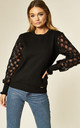 Zinab Black Jumper with Honeycomb Sleeves by Jovonna London