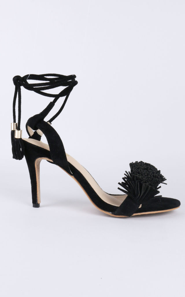 Lace up pom pom high heel sandals in black by LOVEMYSTYLE