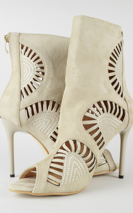 Suede Laser Cut Crystal Stiletto Sandals in Nude by LOVEMYSTYLE