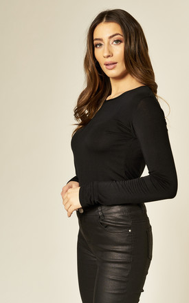 BASIC LONG SLEEVE TOP IN BLACK by Aftershock London