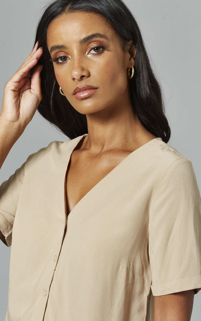 V Neck Top with Button Front in Camel by Pieces