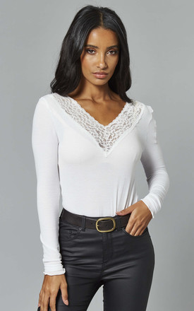 Long Sleeve Top With Lace V Neck In White by Pieces Product photo