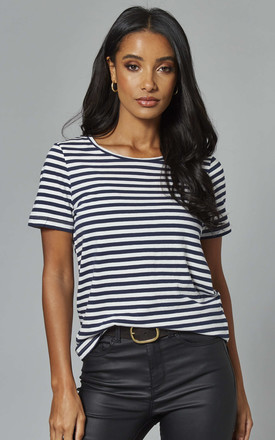 Organic Cotton Tee in Navy / White Stripe by VILA