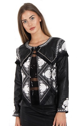 BLACK & WHITE EMBELLISHED FAUX LEATHER JACKET by LOES House