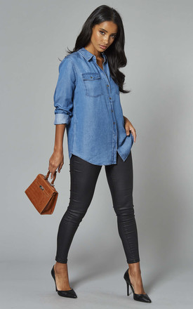 Denim Shirt In Medium Blue by Object Product photo