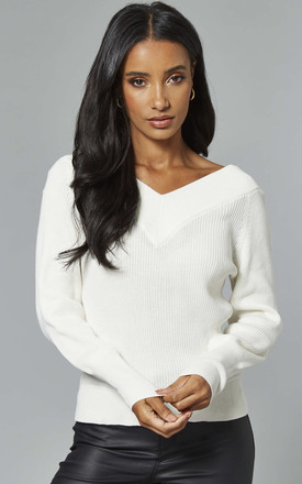 Organic Cotton V Neck Jumper In White by Object Product photo