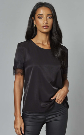 Round Neck Top With Lace Sleeve In Black by Object Product photo
