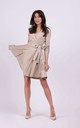 Tied Wrap Mini Dress in Beige by By Ooh La La