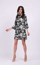 Loose Mini Dress with High Neck in Green Pattern by By Ooh La La