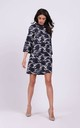 Loose Mini Dress with High Neck in Navy Blue Pattern by By Ooh La La