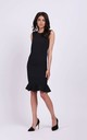 Sleeveless Slim Fit Dress with Frill in Black by By Ooh La La