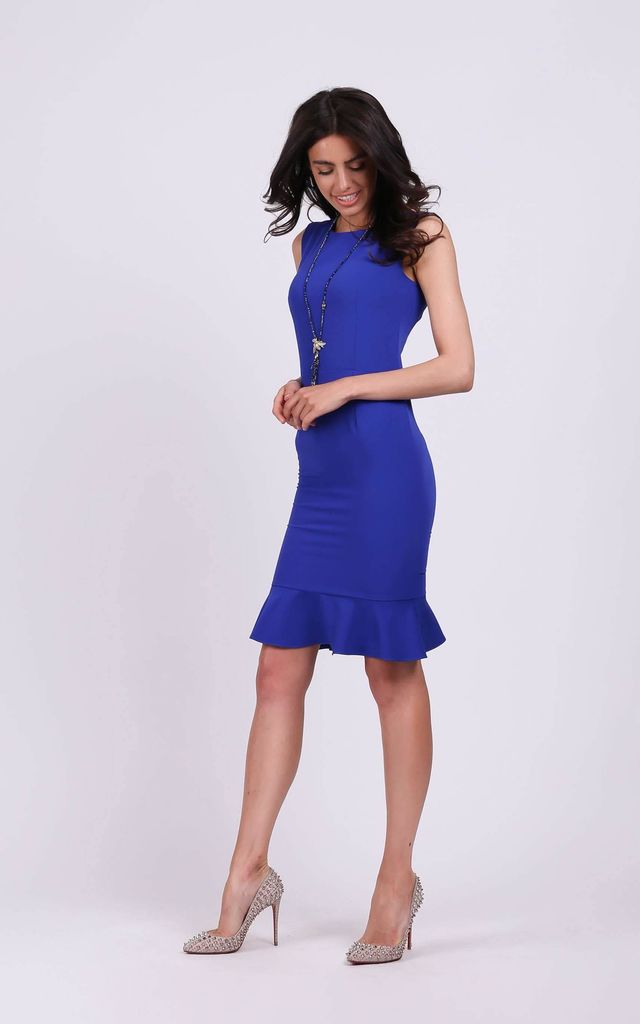Sleeveless Slim Fit Dress with Frill in Blue by By Ooh La La