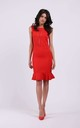 Sleeveless Slim Fit Dress with Frill in Red by By Ooh La La